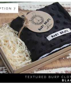 Black Textured Burp Cloth