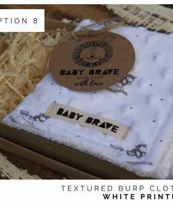 White Printed Textured Burp Cloth