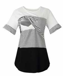 Round Neck Striped Sectional Nursing Shirt