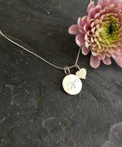 Flowing Love Initial with Heart Necklace