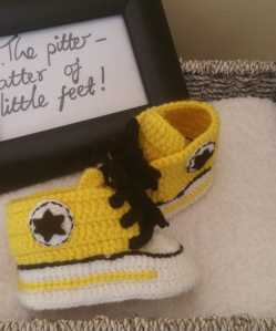 Yellow Converse Crochet Shoes