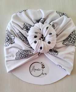 Grey & White Turban Hat