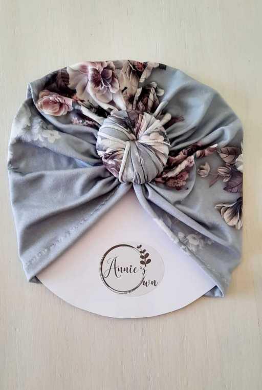 Grey Floral Turban Hat