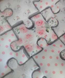 Floral Ellie Puzzle Floor Pillow Set